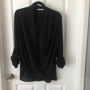 Pleione wrap top surplice blouse black Xl